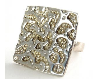 Sterling Silver Modernist Textured Square Ring, Abstract Textured Front