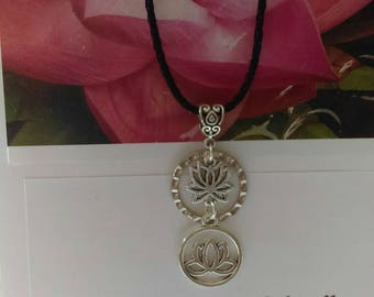 Bhagavad Gita Charm Card with Lotus Necklace