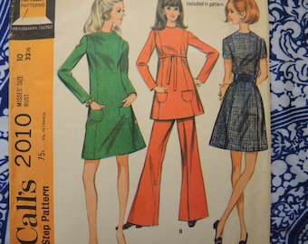 vintage 1960s McCalls sewing pattern 2010 Misses dress or top and pants size 10