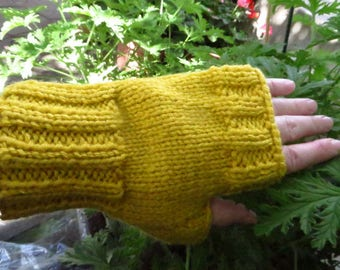 Yellow Texting Mittens, Handmade Wrist Warmers, Knitted Fingerless Gloves, Gold