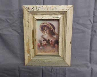 SHABBY ARCHITECTURAL Chic Salvaged Beige Recycled Wood Photo Picture Frame 4x6 141-17P