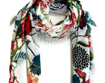 Multi Flowers White Scarf / Spring  Summer Scarf / Autumn Scarf / Gifts For Her / Women Scarves / Handmade Accessories