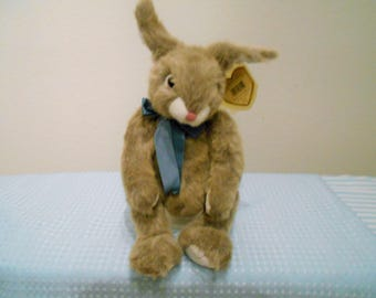 TY CLASSIC Vintage Plush/Baby Pokey/Darling Sandy Brown Bunny With Pink Nose & Blue Satin Ribbon/Designed By Sally Winey/Easter Gift!