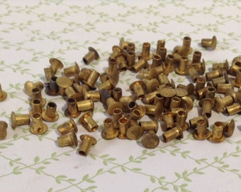 Vintage Hollow Brass Rivets, Salvaged Hardware - Lot of Over 100 Rivets
