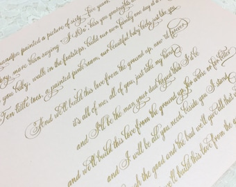 Custom Calligraphy - calligraphy Print - Vows - song lyrics - Poems - calligraphy quote -Anniversary Gift - place cards - custom gift