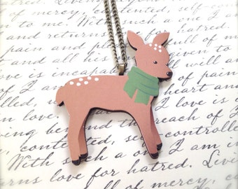 Woodland Deer Necklace. Green Scarf. Festive Christmas Jewelry. Holiday. Brass Vintage Style Chain. Wood Jewelry. Under 15 Gifts.