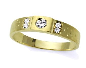 Men 14K Yellow Gold Round CZ Flat Top Wedding Band Ring / Free Gift Box(ATR286W)