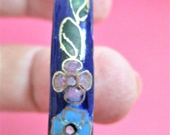 Vintage Cloisonne Bangle Bracelet Blue Stacking Bracelet Floral Enamel Vintage Cloisonne Jewelry Mother's Day Gift Bridesmaid Gift CLA0401