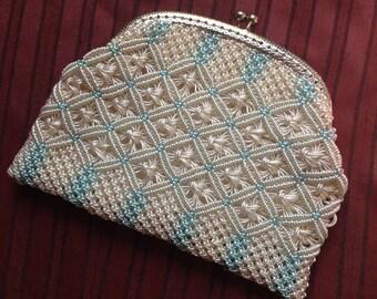 Vintage purse, blue and cream c1950s-60s