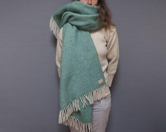 personalized green herringbone blanket scarf, personalised scarf, chunky scarf, shawl, personalized shawl, monogrammed scarf, green scarf