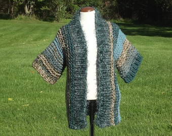 Jacket wrap chunky handknit short wide kimono sleeve shawl collar cardigan sweater duster style small women striped in beige green aqua