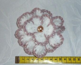White knitted flower brooch crochet