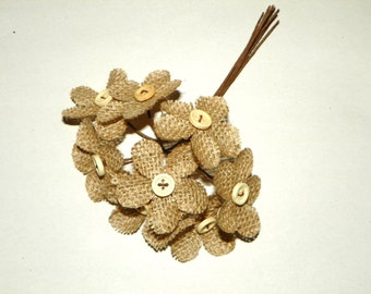 Burlap Flowers 16 Button Daisy Wired Picks, 2 Inches Wide with a Wood Button, Clip and Add to Frames, Boxes, Jars, Pictures, Candles, Wood