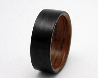 Mens wedding band, Carbon Fiber and wood ring  Ancient Bog Oak wedding band