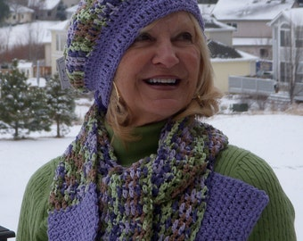 Designer hat and scarf in green and purple, light weight hat and scarf, unique and original hat and scarf set, women's crochet accessories