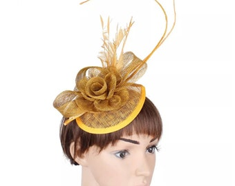 Gold sinamay Wedding Fascinator Bridesmaids Guest Ascot Kentucky Derby Tea Party Melbourne Cup Mother's Day church Gift Crownjewellusa