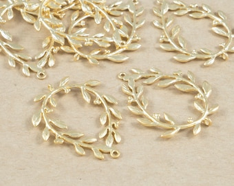 Tree Branch Connector, Flower Pendant , Jewelry Craft Supplies, Matte Gold Plated over Brass - 2 Pieces-[BC0069]-MG