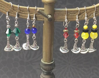 Harry Potter Inspired-HP Earrings-Deathly Hallows Earrings-Hogwarts House Earrings-Gryffindor-Hufflepuff-Ravenclaw-Slytherin-Hogwarts Colors