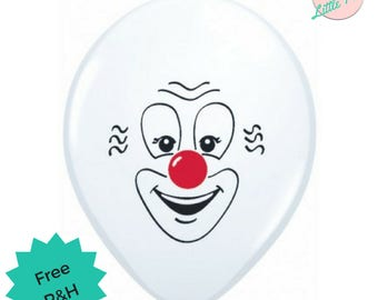 6 x Clown Balloons Kids Circus Carnival Party - Larger 40cm Sized Balloons