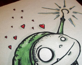 """Valentines Monster Love """"Hooked on You""""  Card Romantic  5x7 Greeting Card Blank inside by Agorables Undead"""