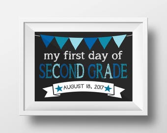 First Day of School Second Grade 2nd Chalkboard Sign 11x14 inches DIGITAL ITEM - Print Yourself