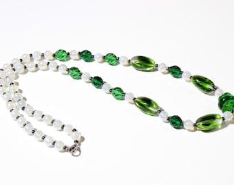 Vintage Czech necklace green crystal bicolor opaline lustre glass beads 14-49