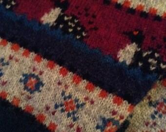 Unisex Woolrich Wool Sweater Jumper, Large 44, all wool dark multi colors