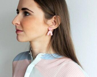 Pink porcelain geometric dangle earrings, geometric earrings, Pink curve earrings