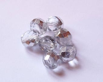 10 faceted 10mm Crystal half silver Czech glass