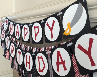 Pirate Bithday Decorations - Pirate Party Banner - Happy Birthday Banner - Pirate Banner - Pirate Birthday Decor - Pirate Theme Party