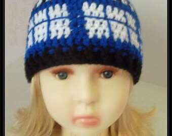 Doctor Who Tardis inspired crochet Beanie - Child size - Ready to ship!