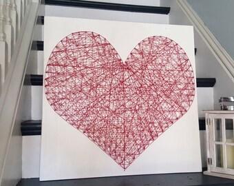 Whitewash String Art Heart - Red