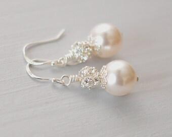 Bridal Simple Earrings, Teardrop Pearl Earrings,  Wedding Pearl Earrings, Crystal Pearl Earrings, Sterling Silver Pearl Earrings LILY
