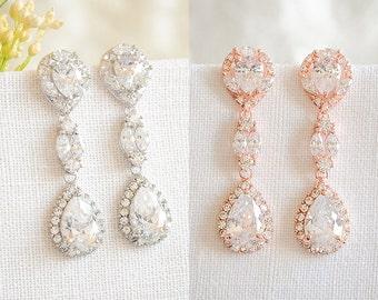 50% OFF, Wedding Earrings, Rose Gold Bridal Earrings, Crystal Teardrop Dangle Earrings, Art Deco Earrings, Wedding Bridal Jewelry, FLOSSIE