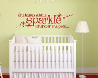 She Leaves A Sparkle Wherever She Goes With Stars Wall Decal Girls Room Wall Decal Stars Decal Vinyl Wall Decal