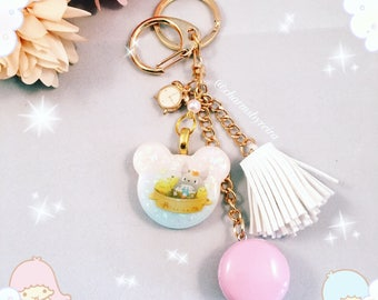 Kawaii pink macaroon charm with Totoro resin piece