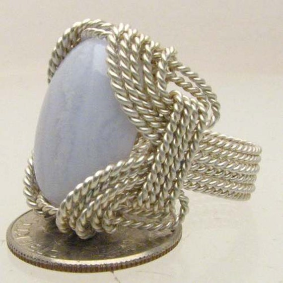 Handmade Solid Sterling Silver Wire Wrap Blue Lace Agate Ring