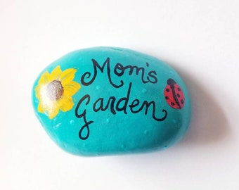 Mom's Garden Handpainted Rock Yard Art Garden Art