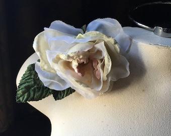 NEW Ivory & Blush Pink Rose Velvet Flower for Bridal, Sashes, Birdcage Veils, Corsages, Millinery MF 112