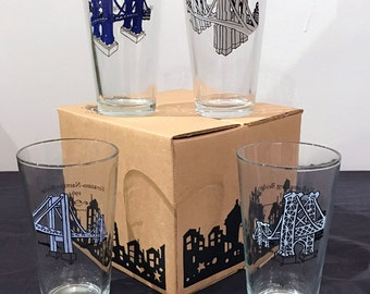 4 Bridges that lead to Brooklyn pint glass set