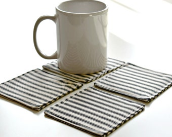 Free shipping, Fabric coasters, set of four, farmhouse, french farmhouse, coasters, black ticking stripe, coaster gift, wedding gift