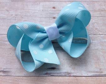 Light blue polka dot hair bow - blue hair bow, toddler hair bows, 3 inch hair bows, girls hair bows, girls bows, hair bows, baby hair bows