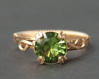 Wirewrapped Natural Peridot Green Ring made to order