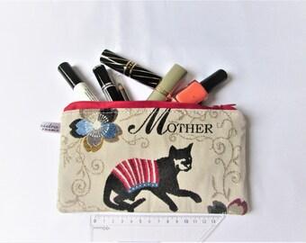 Makeup Kit in red black linen fabric, waterproof lining, women gift