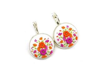 Gift-for-bride Gift-for-her Polymer clay earrings Polymer clay jewelry Fashion jewelry Floral earrings Clay jewelry Clay applique