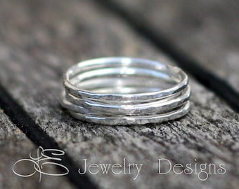 1 SOLID STERLING Silver Stacking Rings - one ring - stacking rings, stackable rings, thin stacking rings