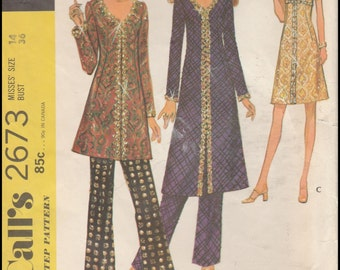 """McCall's 2673  Misses' Dress Or Top And Pants  Bust 36"""""""