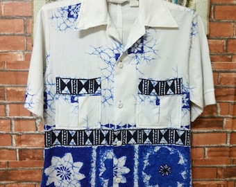 RARE Vintage 60's MALIHINI Hawaii Designers Collections Shirt Button Down