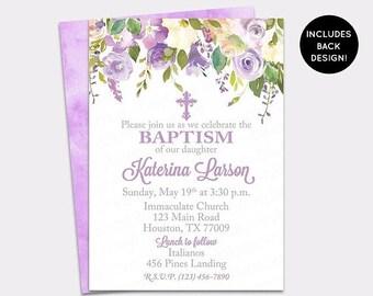 JUNE SALE Lilac Floral Baptism Invitation - Purple Peony Baptism Invite - Roses Christening Invite - Peony First Communion- Girl Baptism Inv