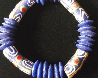 Blue Krobo Stretchy Bracelet
